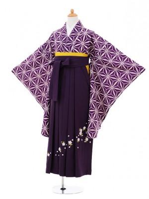 小学生卒業式袴レンタル(女の子)9291 紫麻の葉×パープル