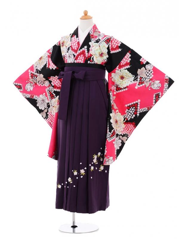 小学生卒業式袴レンタル(女の子)9270 黒ピンク洋花×パープ