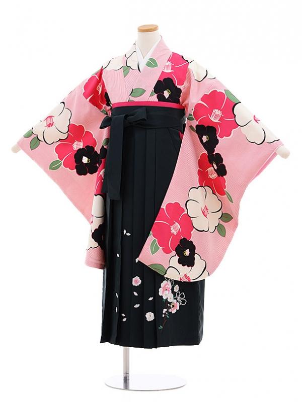 小学生卒業式袴レンタル(女の子)9597ピンクストライプ椿×深緑袴