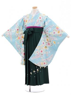 小学校卒業式袴レンタル(女の子)9681水色花藤×グリーン袴