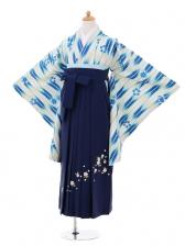 小学生卒業式袴女児9276 白地青矢絣×紺袴