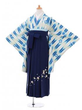 小学生卒業式袴女児9261 白地青矢絣×紺袴