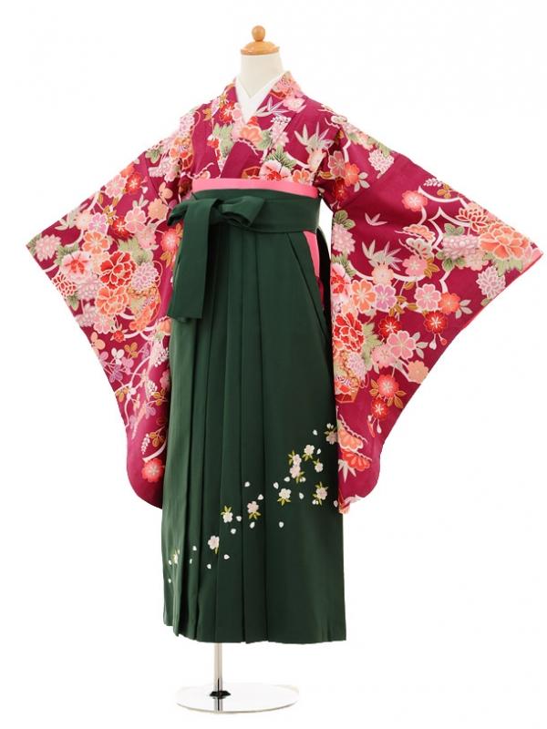 小学生卒業式袴レンタル(女の子)9197 紫地松竹梅ぼたん