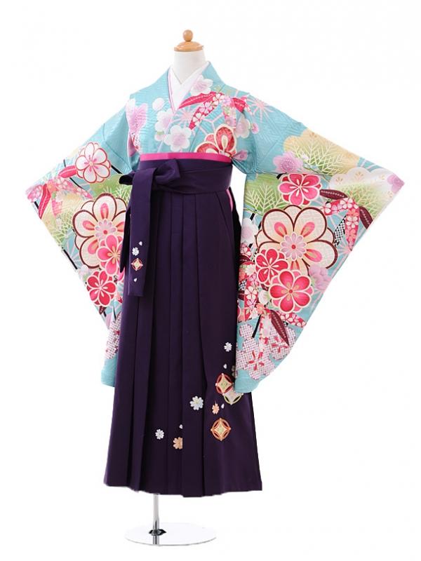小学生卒業式袴レンタル(女の子)9417水色松竹梅×パープル
