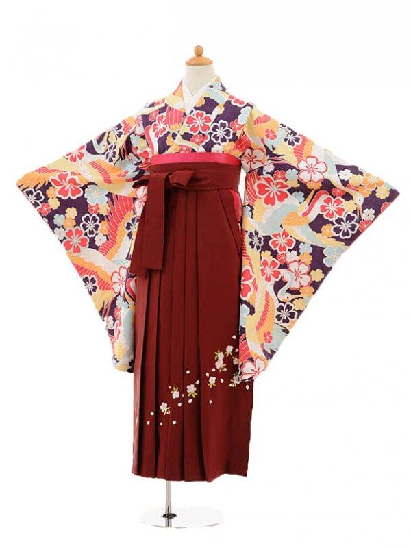小学生卒業式袴レンタル(女の子)9147 紫地鶴梅×エンジ袴
