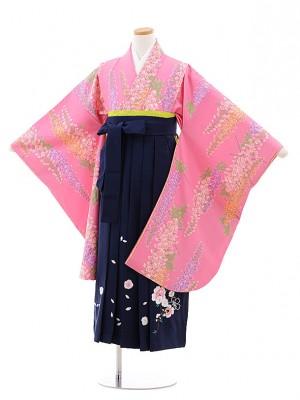 小学校卒業式袴レンタル(女の子)9773 ピンク地藤×紺袴