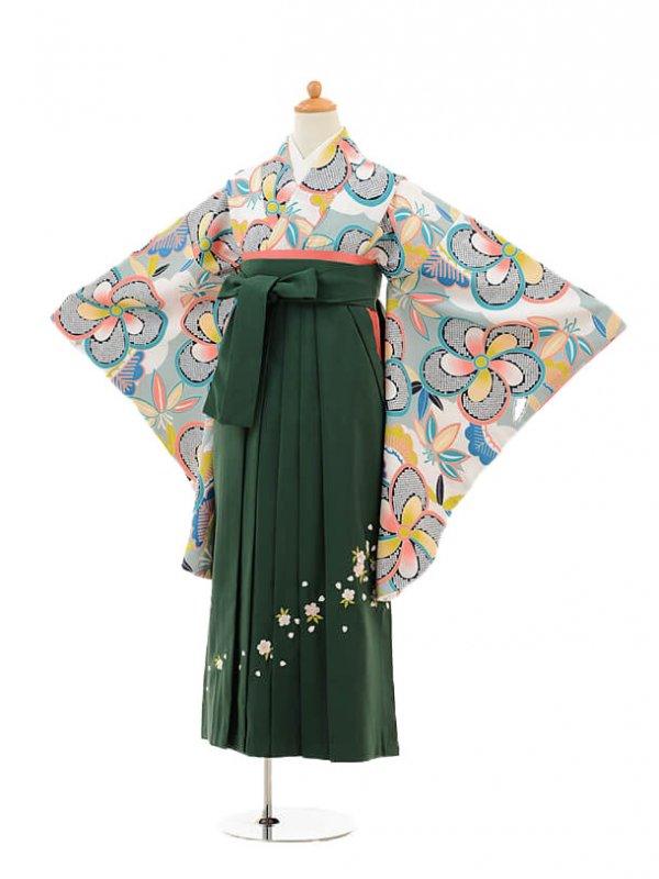 小学生卒業式袴レンタル(女の子)9224 白地水色梅×グリーン