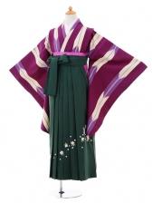 小学生卒業式袴女児9312 紫矢絣×グリーン袴
