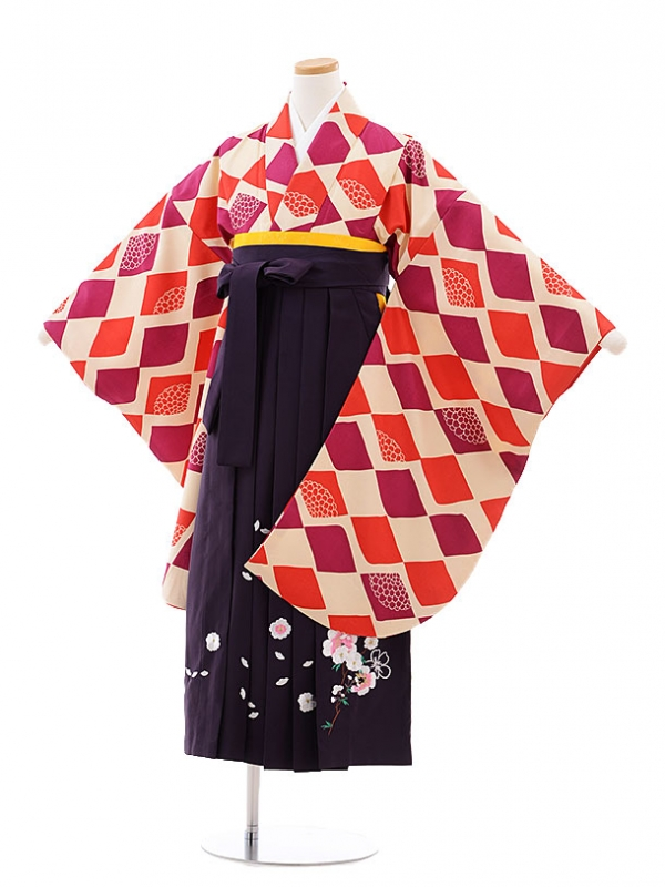 小学生卒業式袴レンタル(女の子)9770 ベージュ地菱×パープル袴