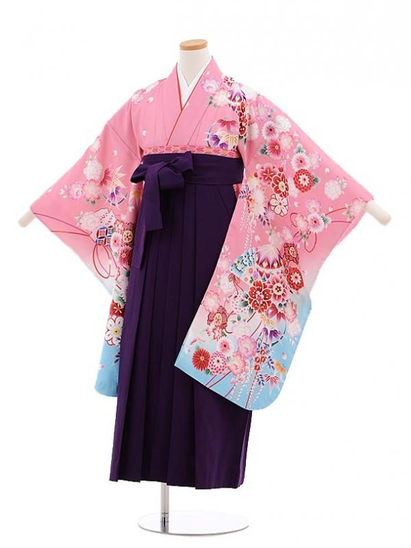 小学生卒業式袴レンタル(女の子)9653ピンク裾水色花×紫袴
