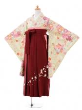 小学生卒業式袴女児9408黄緑扇に四季花×エン
