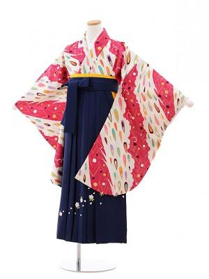 小学校卒業式袴レンタル(女の子)9797 クリーム地孔雀×紺袴