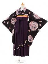 小学生卒業式袴女児9206 紫地流水花丸×パー