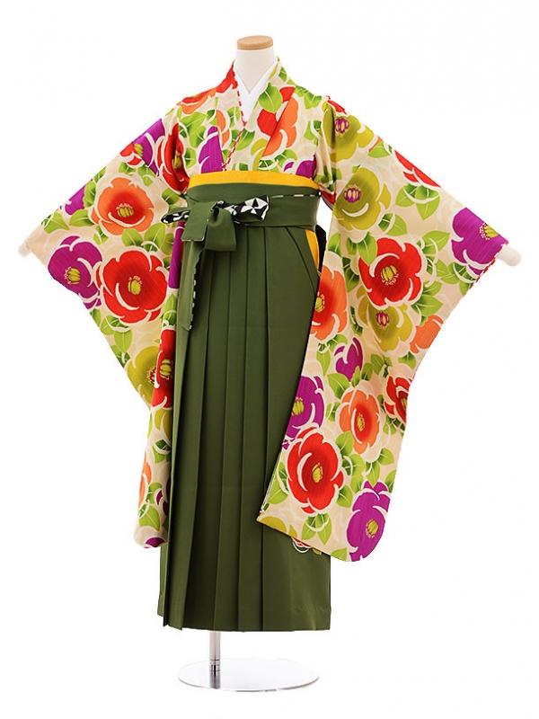 小学生卒業式袴レンタル9478紅一点ベージュ地椿×グリーン袴