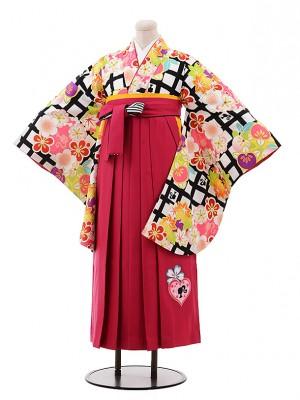 小学生 卒業式 袴 女児 9929 Barbie 白黒 格子×ピンク袴