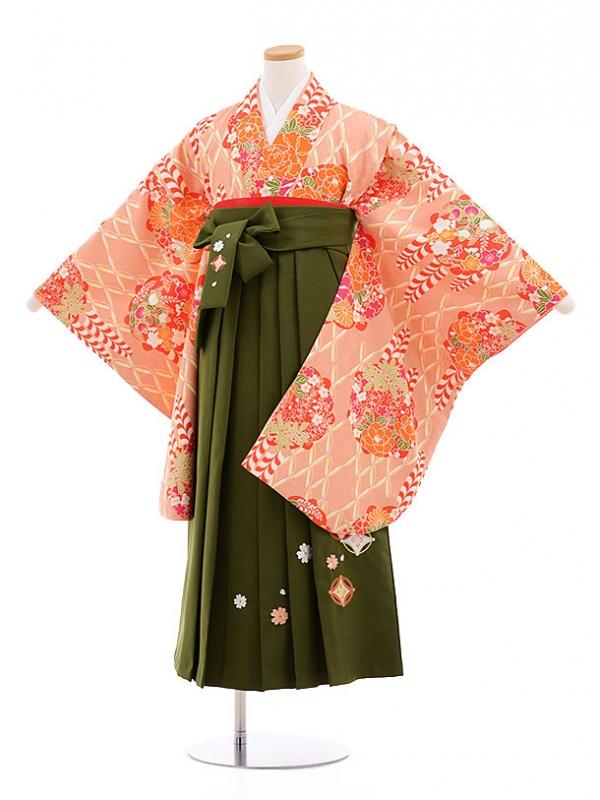 小学生卒業式袴レンタル(女の子)9580ひさかたろまんサーモンピンク×抹茶袴