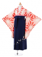 小学生卒業式袴女児9317 赤麻の葉×紺袴