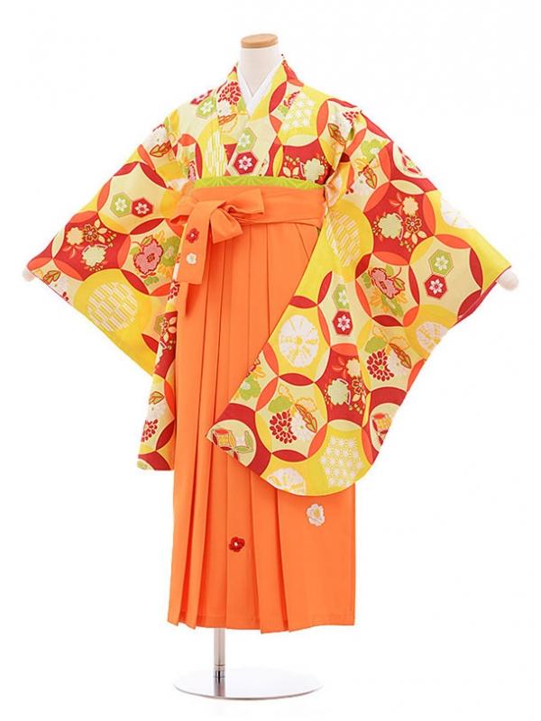 小学生卒業式袴レンタル(女の子)9577ひさかたろまん黄色×オレンジ袴