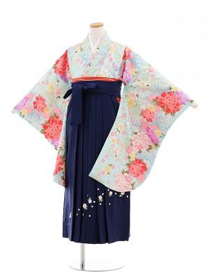 小学校卒業式袴レンタル(女の子)9704水色菊ぼたん×紺桜袴