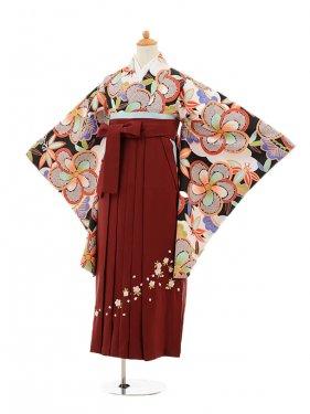 小学生卒業式袴女児9235 黒地梅×エンジ袴