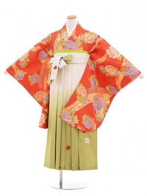 小学生卒業式袴レンタル(女の子)9853 濃オレンジぼたん×白グリーン袴