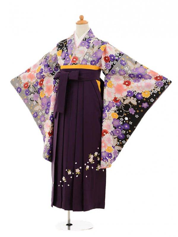 小学生卒業式袴レンタル(女の子)9182 黒地グレーぼかし花