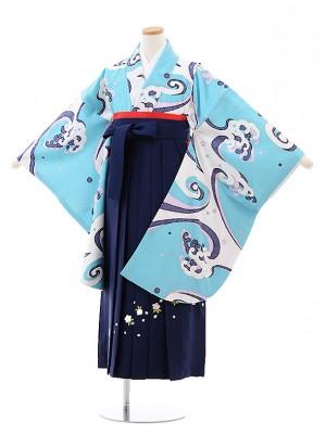 小学校卒業式袴レンタル(女の子)9795 水色地波×紺袴
