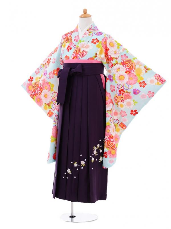 小学生卒業式袴レンタル(女の子)9349 水色桜まり×紫袴