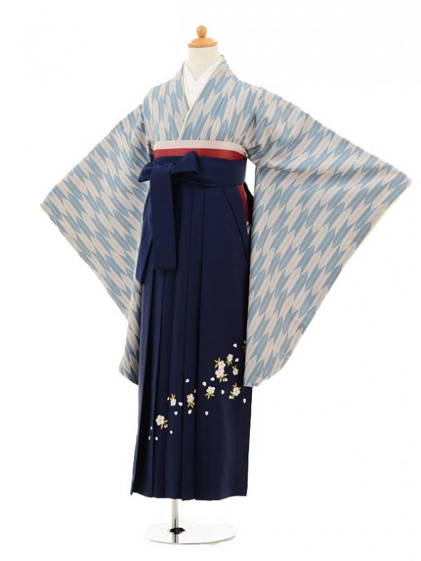 小学生卒業式袴レンタル(女の子)9191 ブルーグレー矢絣×紺