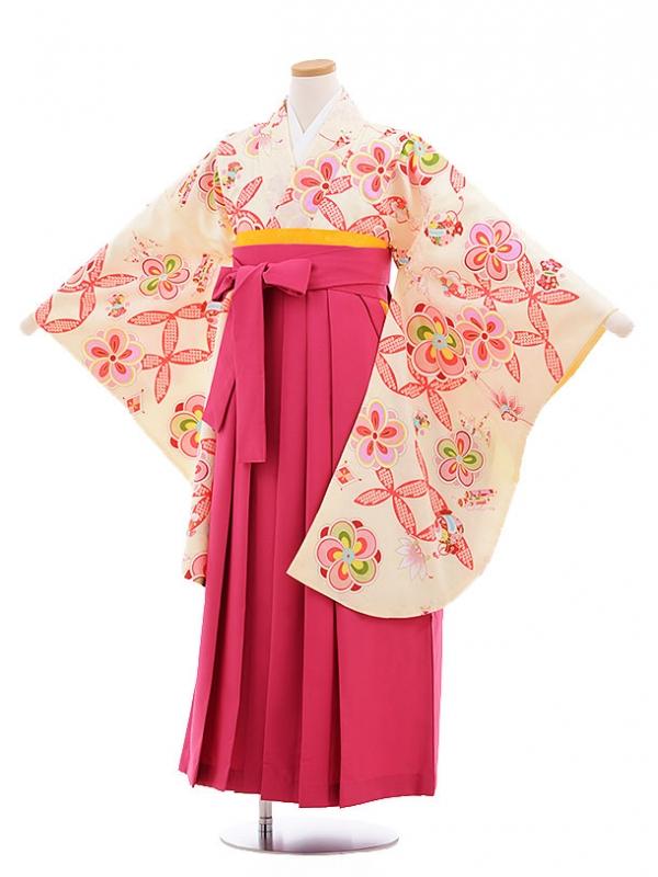 小学生卒業式袴レンタル(女の子)9628クリーム色ねじり梅×ピンク袴