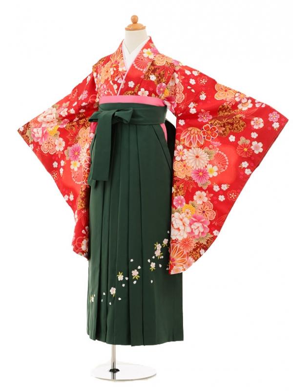 小学生卒業式袴レンタル(女の子)9192 赤地花まり×グリーン
