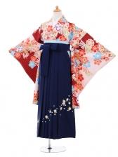 小学生卒業式袴女児9278 薄ピンク小豆色に梅