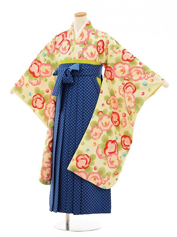 小学生卒業式袴9502ポンポネットクリーム椿×ブルーチェック袴