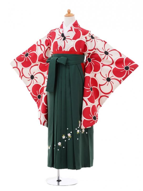 小学生卒業式袴女児9313 白赤梅×グリーン袴