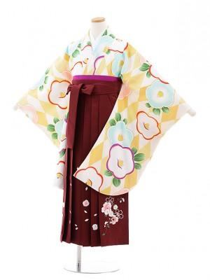 小学校卒業式袴レンタル(女の子)9741 白ベージュ椿×エンジ袴