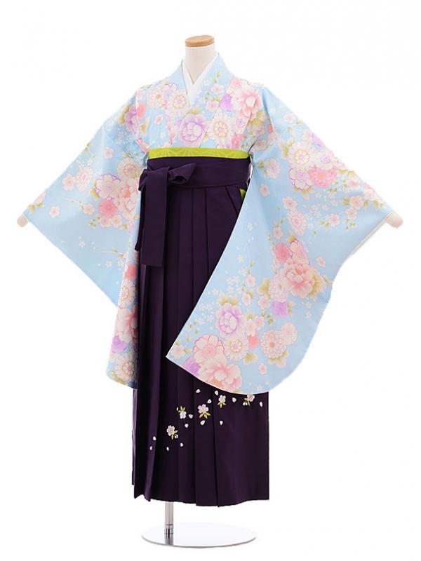 小学生卒業式袴レンタル(女の子)9660水色花づくし×パープル袴