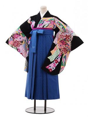 小学生 卒業式 袴 女の子 9978 黒地 のしめ 椿×ブルーチェック袴