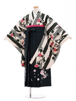 小学生 卒業式 袴レンタル(女の子)9622オフホワイト矢柄桜×深緑袴
