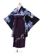 小学生卒業式袴女児9269 黒地水色花×パープ