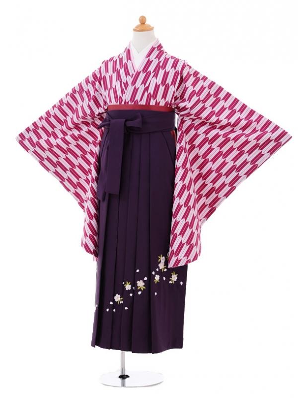 小学生卒業式袴レンタル(女の子)9283 赤紫矢絣×パープル
