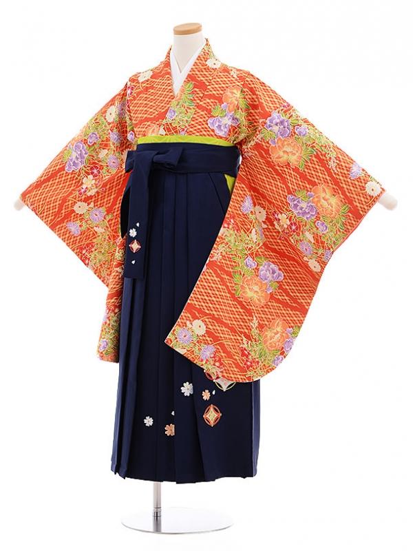 小学生卒業式袴レンタル(女の子)9565ひさかたろまんオレンジ花×紺袴