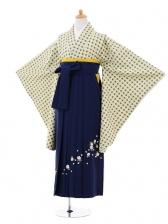 小学生卒業式袴女児9320 グリーンベージュ丸×紺