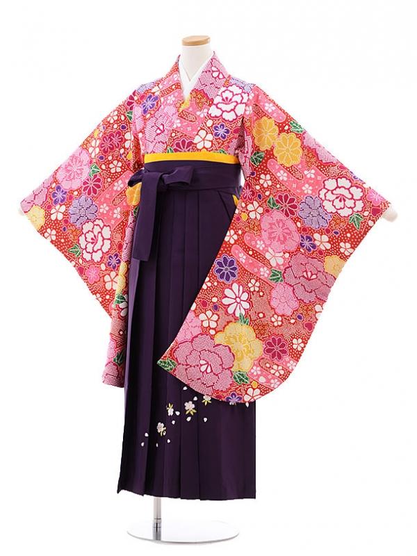 小学生卒業式袴レンタル(女の子)9752 赤地鹿の子花×パープル袴