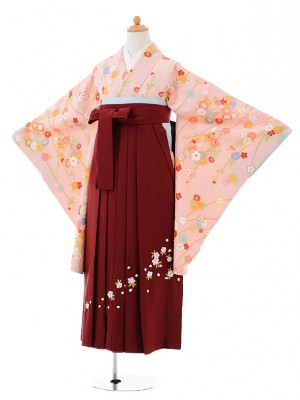 小学生卒業式袴レンタル(女の子)9410ピンク地小花×エンジ袴