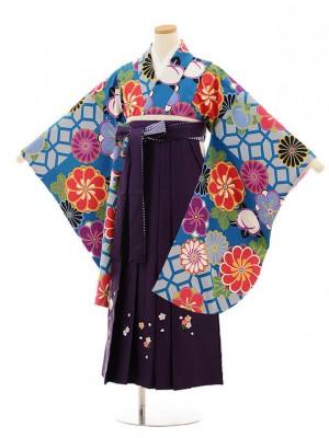 小学生卒業式袴レンタル(女の子)9809 ブルー地菊梅×パープル袴