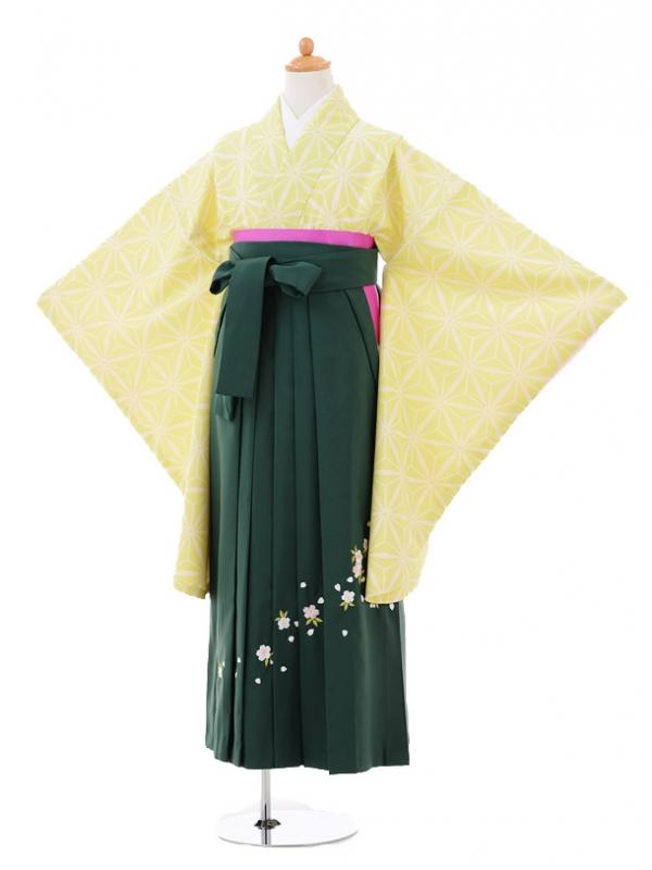 小学生卒業式袴女児9309 ライトグリーン麻の葉×