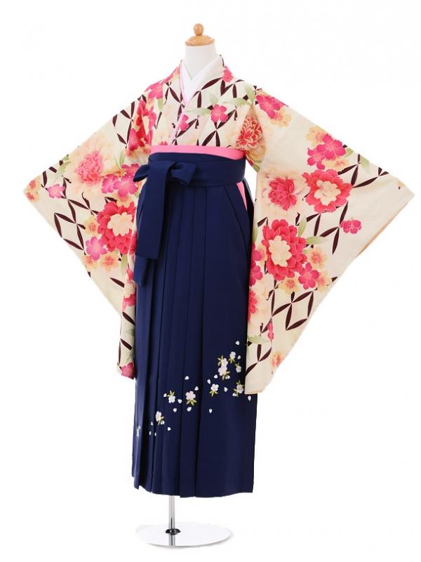 小学生卒業式袴レンタル(女の子)9277 クリーム地花×紺袴