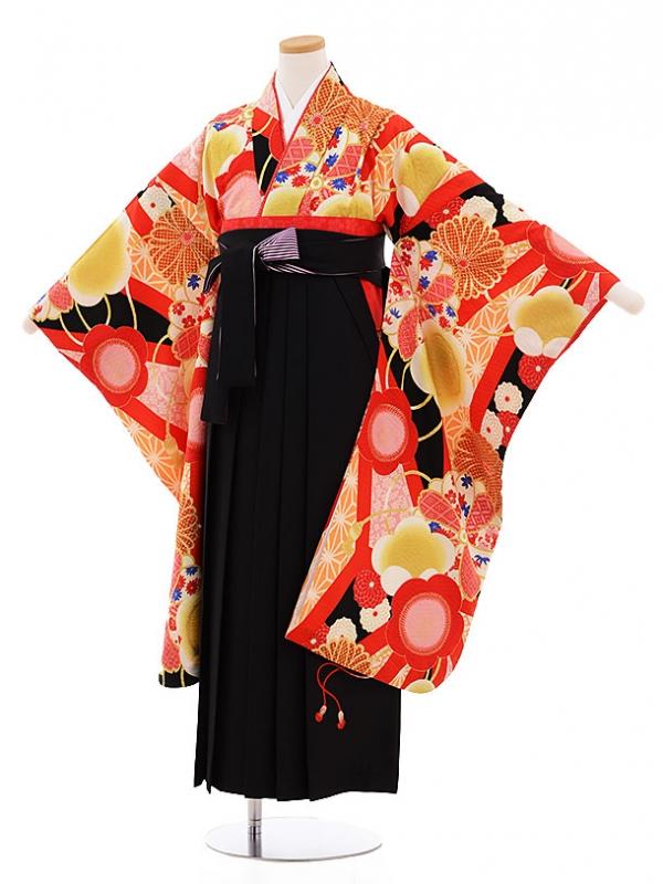 小学生卒業式袴レンタル9483九重黒地古典×黒袴