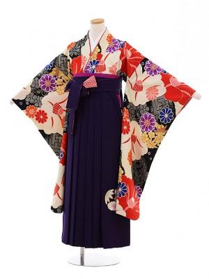 小学生卒業式袴9500瑞城さくら×JAPANSTYLE黒地椿×パープル袴
