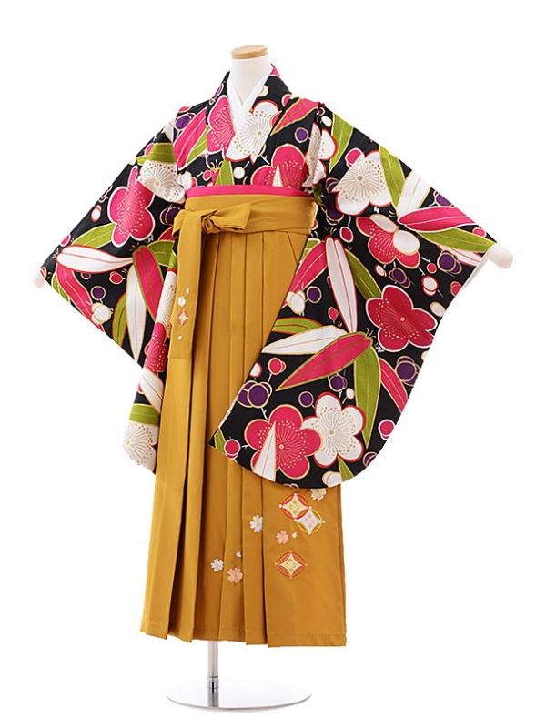 小学生卒業式袴レンタル(女の子)9800 黒地梅笹×金茶袴